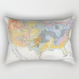 1874 Geological Map of the United States Rectangular Pillow