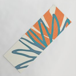 Mid Century Nature Print / Teal and Orange Yoga Mat
