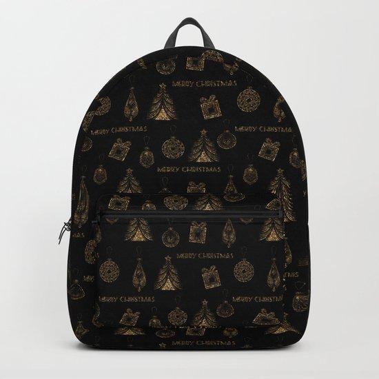 Christmas Golden pattern on black background. Backpack