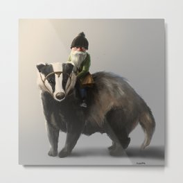 Gnome on Badger Metal Print