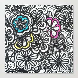 Doodle Birds and Flowers Canvas Print