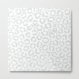 Elegant White Gray Leopard Cheetah Animal Print Metal Print