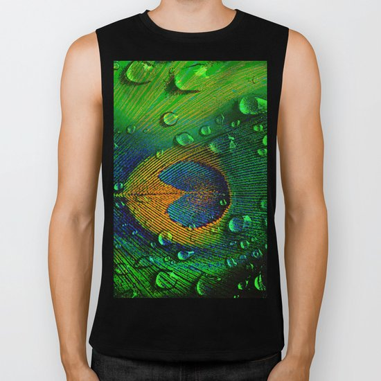 Drops on peacock  (This Artwork is a collaboration with the talented artist Agostino Lo coco) Biker Tank