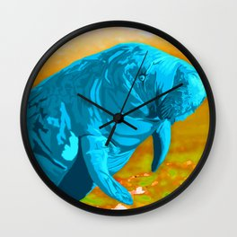 Painted Manatee artwork Wall Clock