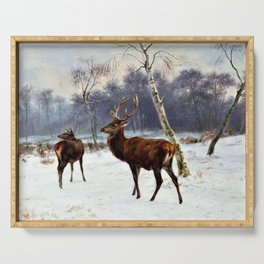 Rosa Bonheur - Deer And Doe In A Snowy Landscape - Digital Remastered Edition Serving Tray