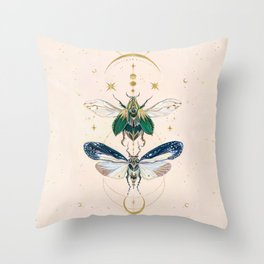 Moon insects Throw Pillow
