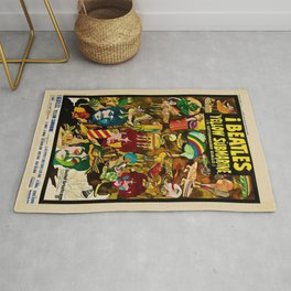 1968 Yellow Submarine Italy Movie Promotional Poster Rug