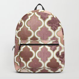 Rosegold Pink and Copper Moroccan Tile Pattern Backpack