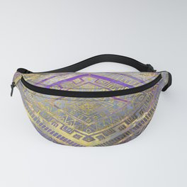 Tribal  Ethnic Boho Pattern gold and gentle purples Fanny Pack