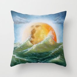 Moon Bath Throw Pillow