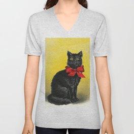 Pretty Black Cat- Vintage Cat Unisex V-Neck