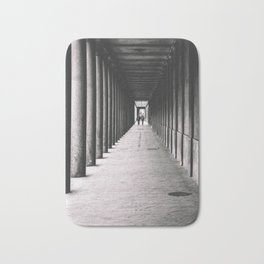 Arcade with columns in Copenhagen, architecture black and white photography Bath Mat