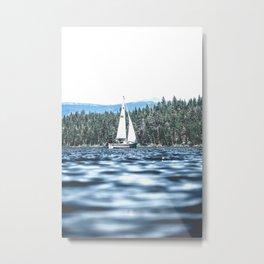 Calm Lake Sailboat Metal Print