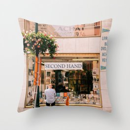 Used bookstore in Brussels Throw Pillow