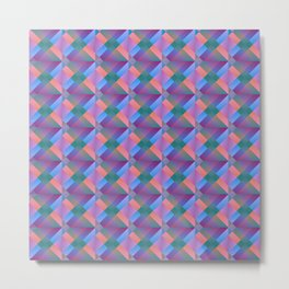 Cross shaped bright pink squares and triangles in violet. Metal Print