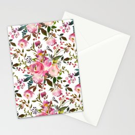 Pretty Pink Blossom on White Stationery Cards