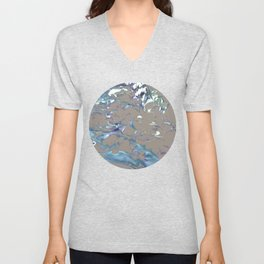 Greige, Gray, Beige, Teal, Navy and Purple Abstract Unisex V-Neck