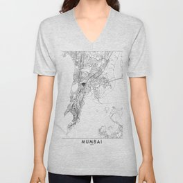 Mumbai White Map Unisex V-Neck