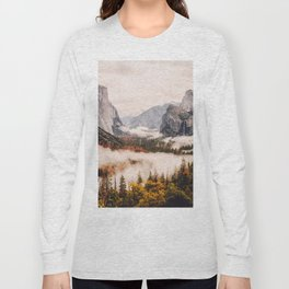 Amazing Yosemite California Forest Waterfall Canyon Long Sleeve T-shirt