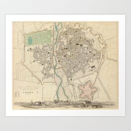 Vintage Map of Parma Italy (1840) Art Print