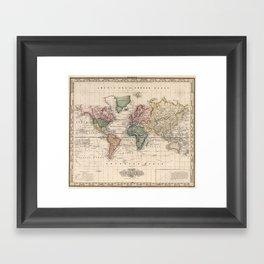Vintage Map of The World (1833) Framed Art Print