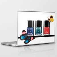 nail polish Laptop & iPad Skins featuring Butterflies & Nail Polish  by Luxe Glam Decor