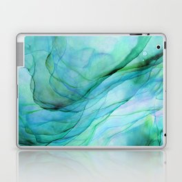 Sea Green Flowing Waves Abstract Ink Painting Laptop & iPad Skin