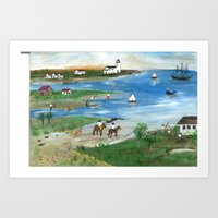 Horses on Cape Cod Beach Art Print