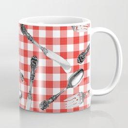 Utensils on Red Picnic Blanket Coffee Mug