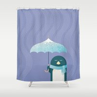 penguin Shower Curtains featuring Penguin by Travel Poster Co.