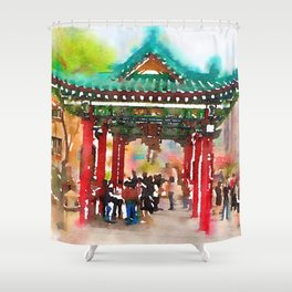 Temple  in Hong  Kong Shower Curtain