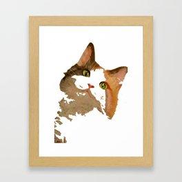I'm All Ears - Cute Calico Cat Portrait Framed Art Print