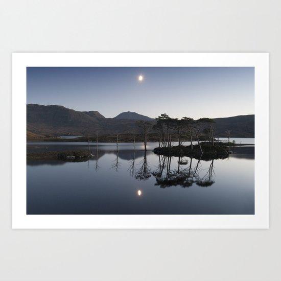 Moon over Assynt Art Print