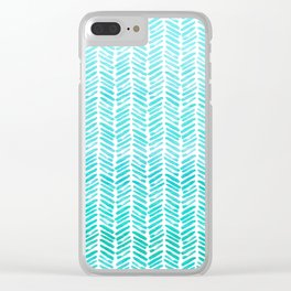 Handpainted Chevron pattern - small - light green and aqua teal Clear iPhone Case