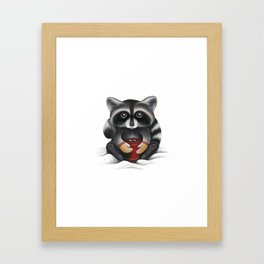Raccoon with Hot Chocolate Framed Art Print