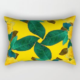 GREEN LEAF ART & YELLOW ROSE FLOWERS  DESIGN Rectangular Pillow