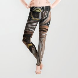 Brown Melted Marble With Gold I Leggings