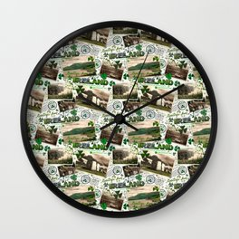 Vintage Postcards, Greetings From Ireland Wall Clock