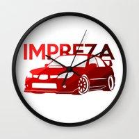 subaru Wall Clocks featuring Subaru Impreza 2006 - classic red - by Vehicle