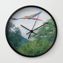 Red Macaw flying off in Costa Rica Wall Clock