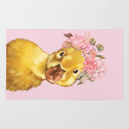 Yellow Duckling with Flowers Crown Rug
