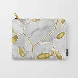 Gold Leaves On Gray Carry-All Pouch