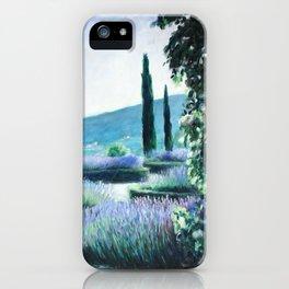 Lavender flower garden oil painting iPhone Case