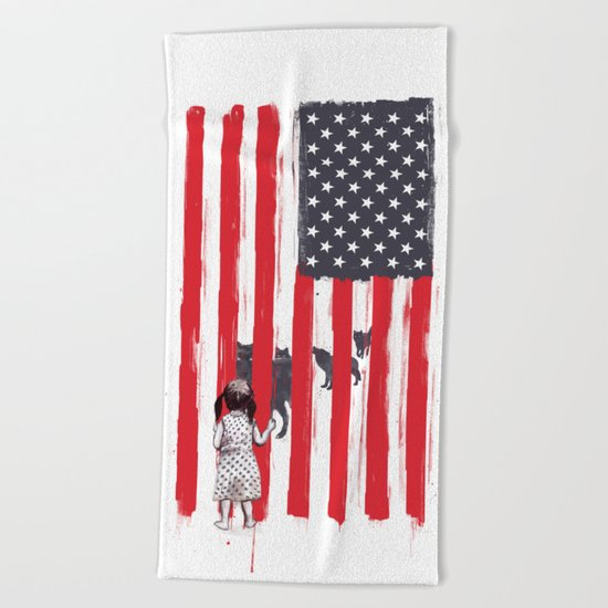 Little girl and wolves Beach Towel