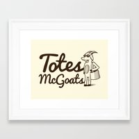 totes Framed Art Prints featuring Totes McGoats by Scoggz