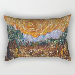 Trees, Yellow Sky and Sun Inspired by Vincent Van Gogh's Painting Rectangular Pillow