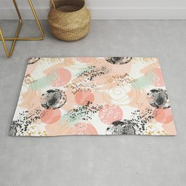 Pattern abstract shapes pastel and textures Rug