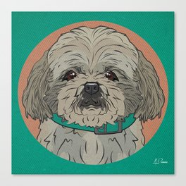 Icons of the Dog Park: Shih Tzu Design in Bold Colors for Pet Lovers Art Print Canvas Print
