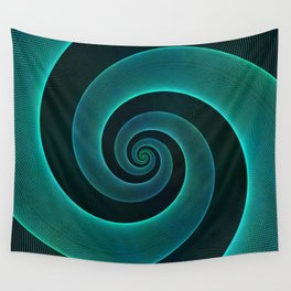 Magical Teal Green Spiral Design Wall Tapestry