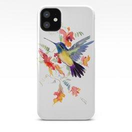 Hummingbird, floral bird art, soft colors iPhone Case